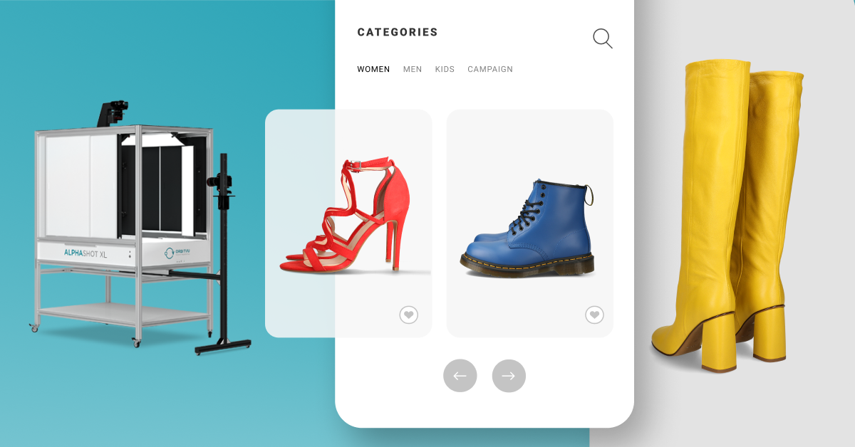 process from photostudio to ecommerce website on smartphone screen. red high heels, blue boots and yellow boots