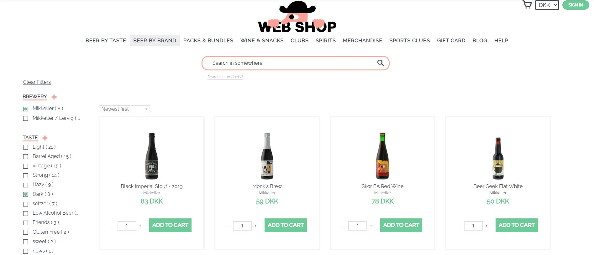 Mikkeller webshop screenshot with beers and filters